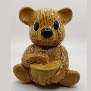 Vintage Ceramic kitschy Brown Bear Honey Pot Jam